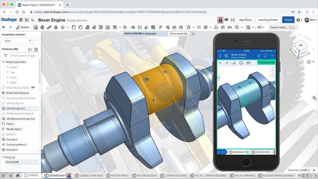 Die CAD-Plattform von Onshape ermöglicht Zusammenarbeit in Echtzeit beim Produktdesign.