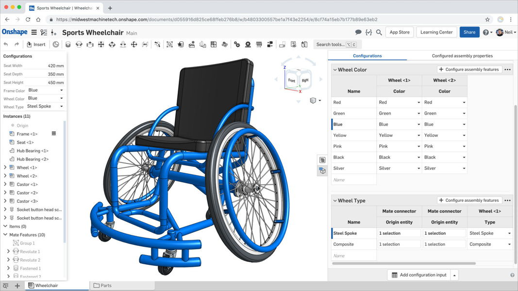 Screenshot des Konfigurations-Tools in der Onshape 3D-CAD-Software.