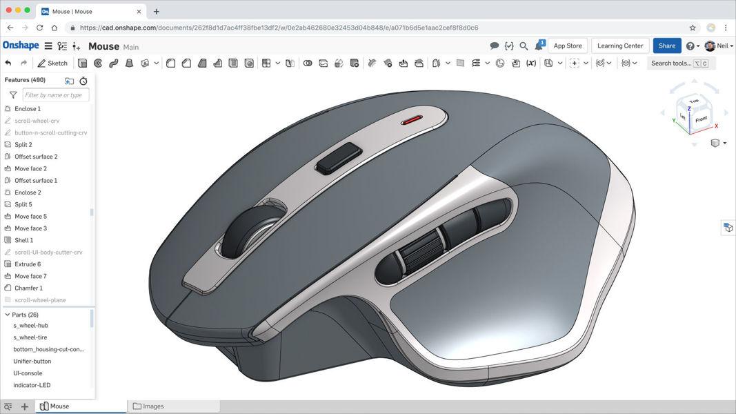 Screenshot von des Part Studios in der 3D-CAD-Plattform von Onshape.