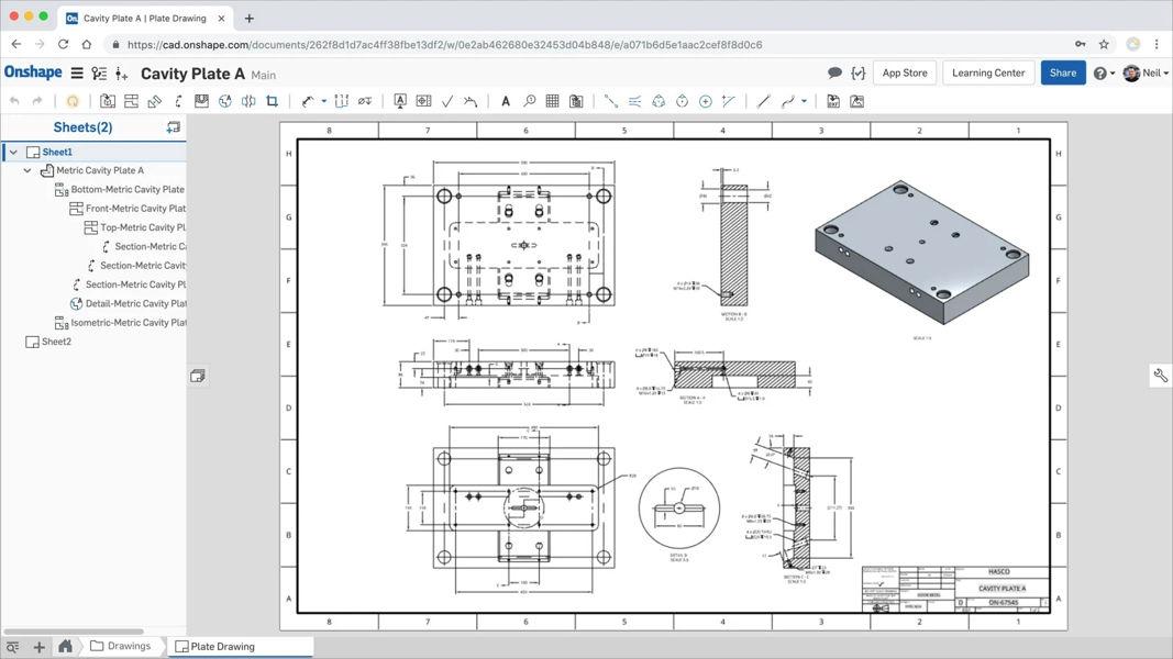 Screenshot einer Zeichnungsdarstellung in der Onshape-Produktentwicklungsplattform.