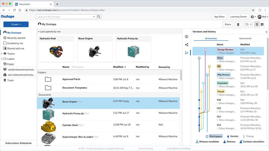 Screenshot von der Produktgeschichte inkl. Versionierung innerhalb Onshape. Die integrierte Datenverwaltung macht ein PDM überflüssig.