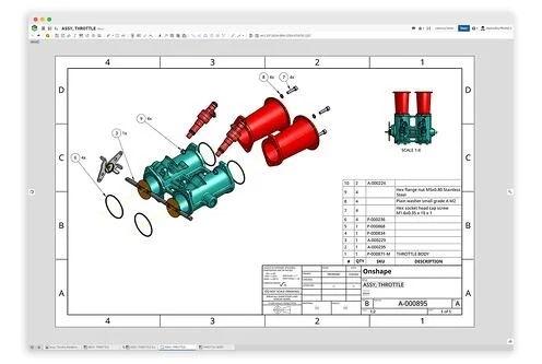 Onshape Branchenlösung Automotive - Zeichnung